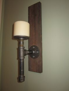 Industrial pipe wall sconce candle holder by RabbitHillWorkshop