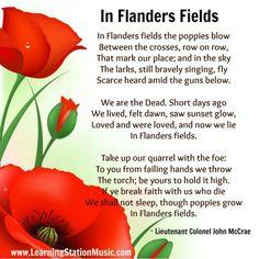 """Colonel John Mccrae's poem """"In Flanders Fields"""""""