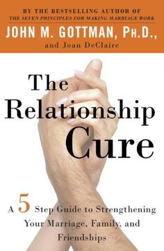 The Relationship Cure: A 5 Step Guide to Strengthening Your Marriage, Family, and Friendships - A book for curing damaged relationships, transforming troubled relationships, and improving intimate relationships. For troubled marriages, for couples who've been arguing more than getting along, the book helps you understand each other, communicate better, and helps deepen the emotional part of the relationship.