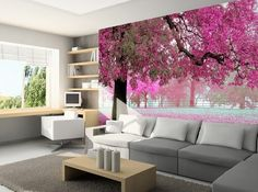 3D Wallpaper Bedroom Mural Roll Romantic Purple Tree Wall Background Home TV  | Home & Garden, Home Improvement, Building & Hardware | eBay!