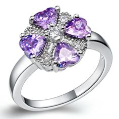 Four Hearts Rings Amethyst Rings Simulated by UloveFashionJewelry, $9.69