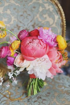 Colorful #Bouquet | See more of the wedding on SMP -http://www.StyleMePretty.com/2014/01/06/colorful-chateau-cocomar-wedding/ Forever Photography Studio