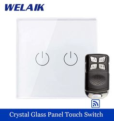 WELAIK Crystal Glass Panel Switch EU Remote control Wall Switch AC250V Touch Switch Light Switch 2gang1way LED lamp A1923W/BR01