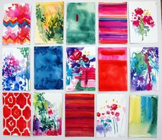 Gift Set of 15. Prints of Watercolors. Mix and by annieflynn1