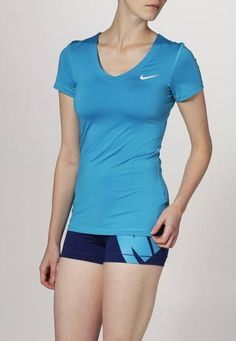 Nike Performance Pro Camiseta De Deporte Blue Lagoon White camisetas y blusas white Pro Performance Nike Lagoon deporte camiseta Blue Noe.Moda