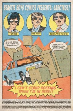 Comic, tribute to the Beastie Boys/Sabotage (by Derek Langville) Beastie Boys, Starwars, Boy Illustration, Illustrations, Hip Hop Quotes, Band Posters, Music Posters, Rock Posters, Cosplay Anime