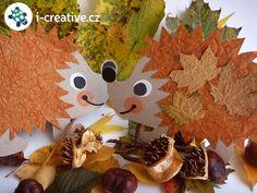 podzimní výzdoba - ježci z papíru