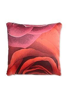 "Roberto Cavalli Casa Rose Silk Pillow, Red, 14"" x 14"""
