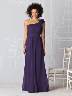 dark purple one shoulder bridesmaid dress