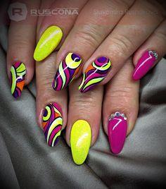 Nail design idea - All For Hair Color Trending Funky Nail Art, Funky Nails, Trendy Nails, Neon Nail Designs, Nail Polish Designs, Nails Only, Get Nails, Jolie Nail Art, Gel Nagel Design