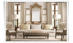Sophisticated living room from Restoration Hardware