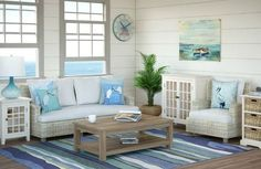 Blue and Green Wave Rug...