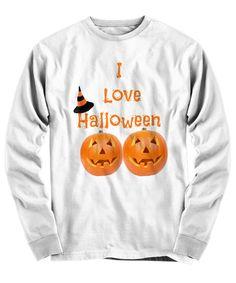 I Love Halloween Long Sleeve T-Shirt White Halloween Gifts Holiday Funny Shirt Unisex