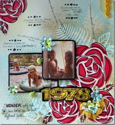 1978, by Carolina Ghelfi. Roses done with innies (left overs) after sillouette cut. The photos flip over and to the left to reveal journaling