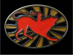 RED DOG ANIMAL RISING SUN COOL BELT BUCKLE