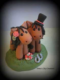 Wedding Cake Topper, Horse, Animal, Pony - Custom Cake Topper, Polymer Clay, Personalized Wedding/Anniversary Keepsake
