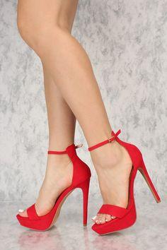0162ffb71fcc Sexy Red Open Toe Ankle Strap Platform Stiletto High Heels
