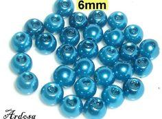 30 Glaswachsperlen Wachsperlen 6mm petrol  von Schmuckmaterial