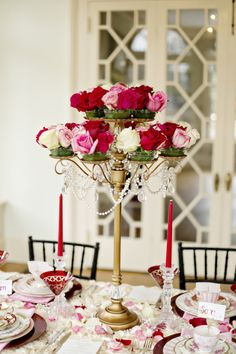 "Candelabra Centerpiece Holding Roses instead of Candles| Elegant {Pink, Red, Black & Gold}""Pretty Woman"" Valentine's Wedding Inspiration