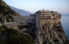 """Monastery Of Simonopetra (Greek: literally: """"Simon's Rock"""") is an Eastern Orthodox monastery in the monastic state of Mount Athos in Greece. Wonderful Places, Great Places, Amazing Places, Stunning View, Greece Travel, World Heritage Sites, Oh The Places You'll Go, Beautiful Beaches, Travel Pictures"""