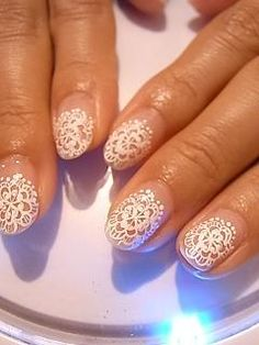 Antique Lace nail art - you could also use black lace for an evening look. x
