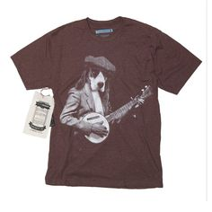 Beagle T-Shirt / Basset Hound Playing Banjo Shirt  Instrument Funny Men's T- shirt - Dog playing Banjo in Sizes Small to XXXL