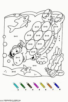 fichas para colorear con sumas y restas de personajes - Buscar con Google Preschool Assessment, Preschool Math, Teaching Math, Simple Math, Basic Math, Montessori Activities, Classroom Activities, Spring Coloring Pages, Kids Math Worksheets