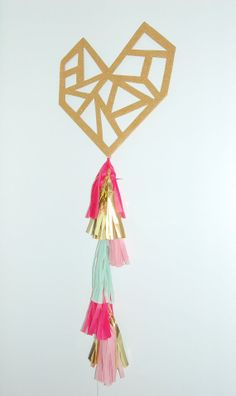Heart Sign with Balloon Tail Tassel Garland [lovely hand-cut modern geometric heart for weddings, birthdays, showers, valentines day, photos and more] Tassel Garland, Tassels, Balloon Tassel, Garlands, Valentines Day Party, Love Valentines, Brit And Co Diy, Geometric Heart, Paper Crafts