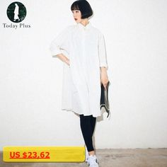 2017 Women Fashion Shirt Dresses Solid White Black Loose Turn-down Neck Long Sleeve Oversized Ladies Simple Casual Dress Party