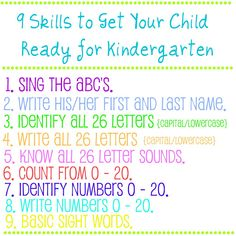 House of Grace: 9 Skills to Get Your Child Ready for Kindergarten Also add.months of the year, days of the week, weather, and sharing skills Preschool Learning, Learning Tools, Toddler Activities, Preschool Activities, Kids Learning, Early Learning, Toddler Apps, Learning Techniques, Preschool Age