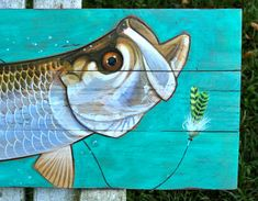 Fish Tarpon painting on rustic reclaimed wood. Refurbished, oak wood pallet boards hand painted with this popular sportfish Pallet Painting, Pallet Art, Painting On Wood, Pallet Boards, Rock Painting, Diy Canvas, Canvas Art, Canvas Ideas, Fish Artwork