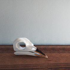 Spring bird sale Crow 16 k gold beak by Porcelainskulls on Etsy