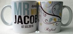 Personalize sua caneca informando o sobrenome do casal e data do casamento.