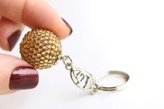 Gold Keyring Keychain. Golden Silver Lined Glass by PetalsDesignAU, $11.00
