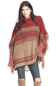 Free People 'Labyrinth' Stripe Colorblock Poncho | Nordstrom