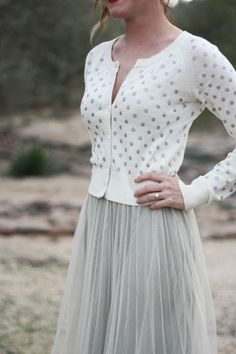 grey polka dot cardigan and grey skirt