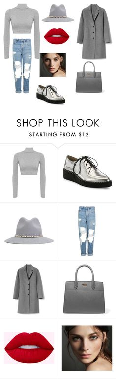 """grey"" by kkmahony ❤ liked on Polyvore featuring WearAll, Loeffler Randall, YOSUZI, Topshop, Gap, Prada and Burberry"