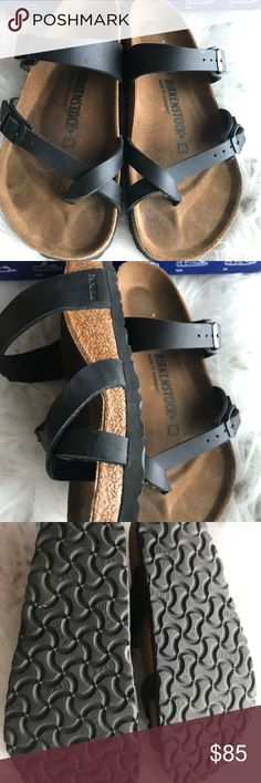 Birkenstock Mayari 38 Store return, shows light wear on insole but not broken in yet. Comes with Birkenstock box. Box might not be in perfect condition due to handling,  Please see pictures for a more accurate description of the product  Size 38 Regular width No returns so please know your size in Birks before ordering. I can only guarantee I will be sending the European size stated on the listing. All items are inspected throughly before shipment.    Thanks Birkenstock Shoes Sandals