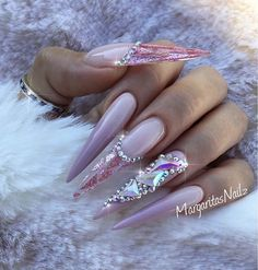 Long stiletto nails with bling