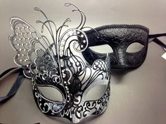 Couple Black&Silver Metal Butterfly and Glitter Venetian Masquerade Party Mask