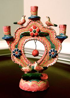 colorful vintage Mexican candelabra by adhocdecor on Etsy