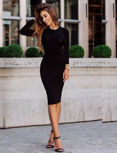 Cheap vestido a, Buy Quality dress vestidos directly from China sexy party Suppliers: 2017 Brand Women Dress Black Office Robe Sexy Party Cotton Long Sleeve Midi Bodycon Casual Basic Dress Vestidos Casual Summer Dresses, Sexy Dresses, Dresses For Work, Dresses With Sleeves, Dress Casual, Sleeve Dresses, Short Dresses, Chiffon Dresses, Office Dresses
