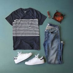 Our old school Breton striped tee as styled by @thepacman82. Buy it directly from our site in the link in our bio. Nice one Phil! #rewritingtheclassics #grayers by grayers