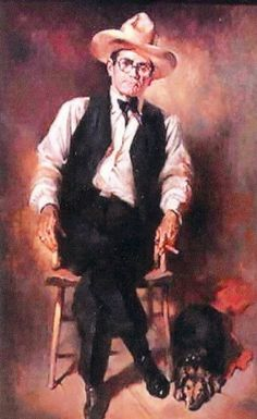 """""""Doby Doc"""" Caudill   by Julian Bitter hung in Benny Binion's office   in Binion's Horseshoe Casino on Fremont   Street in downtown Las Vegas. His ever present,   longtime Dachshund pal, Petey, is at his feet."""