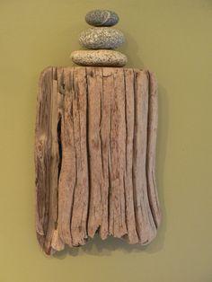 Driftwood, driftwood shelf, driftwood art, gift idea, beach art, beach decor, rustic decor, Zen decor, rock cairn, granite stones on Etsy, £30.50