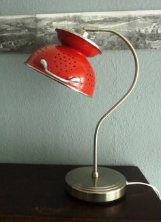 Aus einem Sieb eine Tischlampe gemacht :) #upcycling