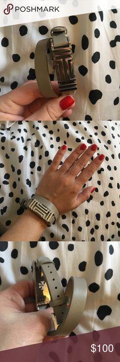 Tory Burch Fitbit bracelet Silver hardware, grey leather bracelet | please note I am a tiny human so the bracelet looks huge on my wrist but is normal sized Tory Burch Jewelry Bracelets