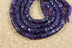 Purple Amethyst Smooth Rondelle Beads - Tyre Wheel Beads, 5mm, 14 inch strand by ABOSBeads on Etsy
