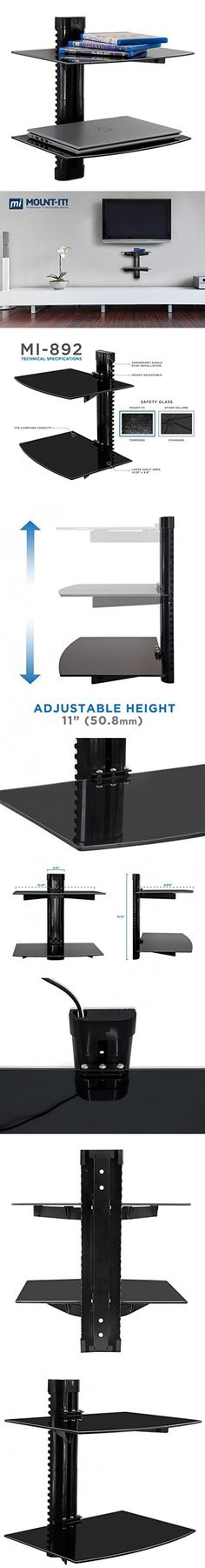 Mount-It! MI-892 Floating Wall Mounted Shelf Bracket Stand for AV Receiver, Component, Cable Box, Playstation4, Xbox1, DVD Player, Projector, 35.2 Lbs Capacity, 2 Shelves, Tinted Tempered Glass