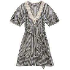 Sauge Dress by Paul and Joe Sister ❤ liked on Polyvore featuring dresses, vestidos, haljine, tie dress, striped dress, short-sleeve dresses, short sleeved striped dress and zipper dress